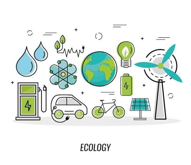 Elf grüne energiesymbole