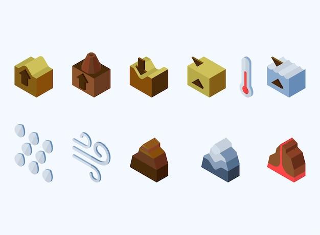 Elf isometrische symbole der naturelemente der erde für das spiel