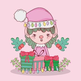 Elf mit geschenken und girlande weihnachtsdekoration
