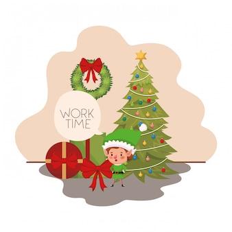 Elfe mit weihnachtsbaum und geschenken