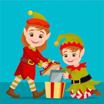 Elfen packen ein geschenk