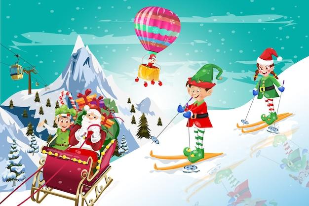 Elfen-skifahren mit weihnachtsmann winterzeit und heißluft-weihnachtsballon