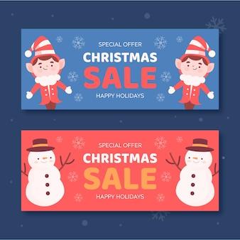 Elfen- und schneemannweihnachtsverkaufsfahnen