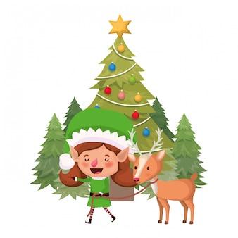 Elfenfrau mit ren und weihnachtsbaum
