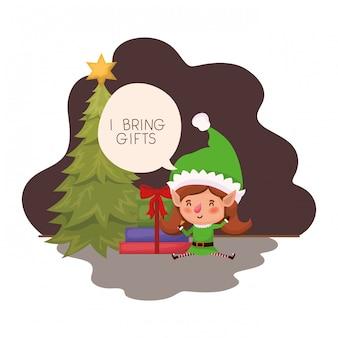 Elfenfrau mit weihnachtsbaum und geschenken