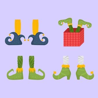 Elfenfüße flache schuhe für elfenfüße weihnachtsmann-helfer zwergenbein in hosen lustige socken und stiefel