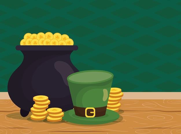 Elfenschatzkessel mit münzen und hut