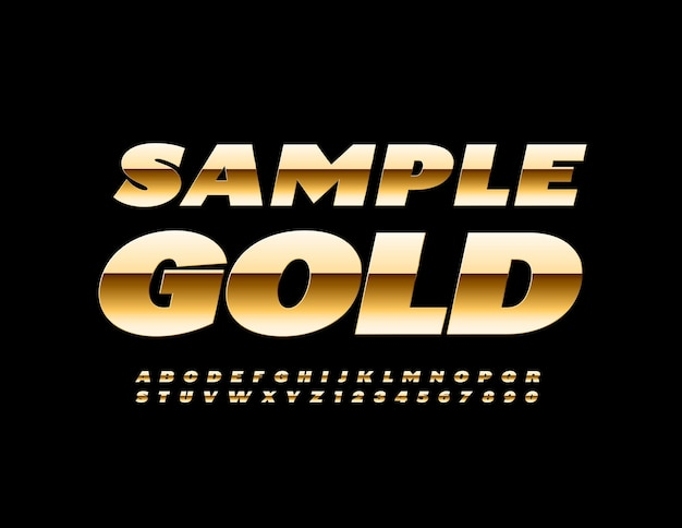 Elite-vorlage beispiel gold premium-stil schriftart modern schick alphabet buchstaben und zahlen gesetzt