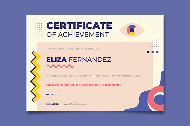 Eliza award-zertifikat für kreatives geometrisches design design