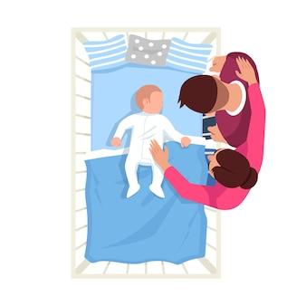 Eltern beobachten säuglingsschlaf halbflacher rgb-farbvektorillustration. kaukasisches neugeborenes im bett. mutter und vater mit baby. familie isolierte zeichentrickfiguren draufsicht auf weißem hintergrund
