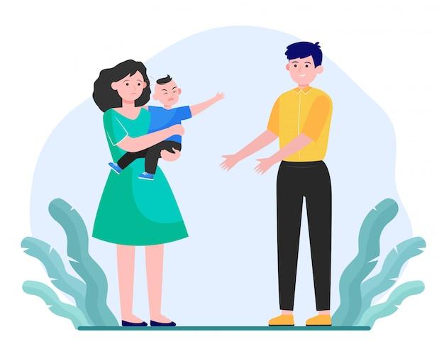 Eltern beruhigen kleines kind