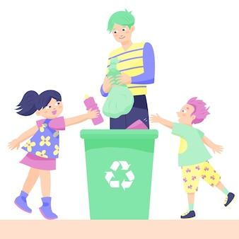 Eltern bringen den kindern das recycling bei