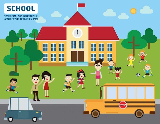 Eltern bringen ihre kinder zur schule. bildungskonzept.