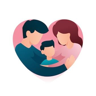 Eltern, die die sohnfamilie umarmen, die sich zusammen im herzform-familientagskonzept umarmt