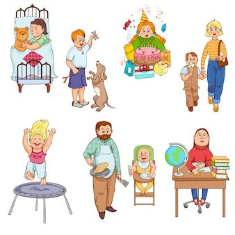 Eltern, die für kinder sich interessieren und glückliche familienikonensammlung der kinderkarikaturart spielen