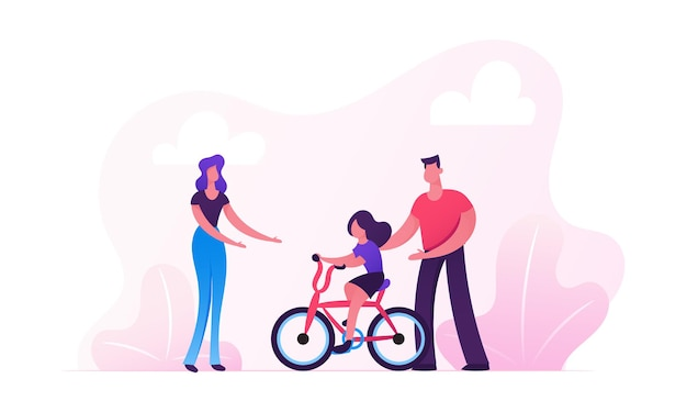 Eltern, die kinderfahrrad im stadtpark unterrichten