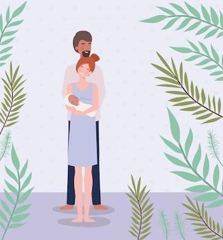 Eltern, die um neugeborenem baby mit blättern sich kümmern