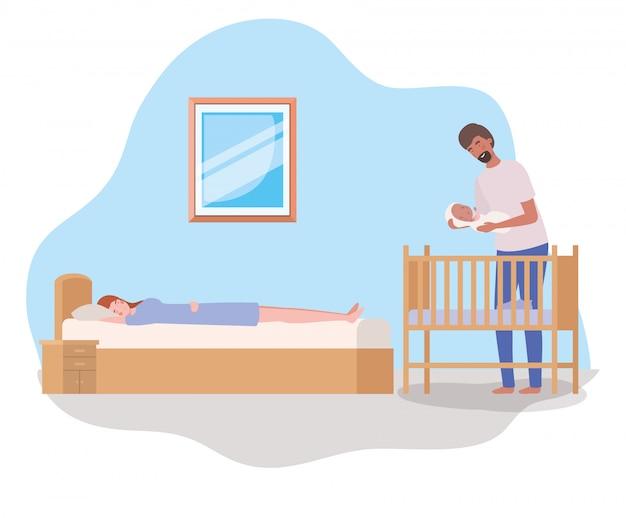 Eltern, die um neugeborenem baby mit wiege sich kümmern