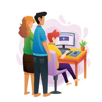 Eltern führen ihre kinder beim anschauen eines webinars