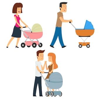 Eltern gehen mit einem kinderwagen.
