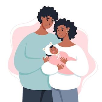 Eltern halten ein baby in den armen