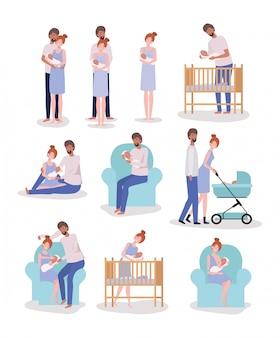 Eltern kümmern sich um neugeborenen-set-aktivitäten