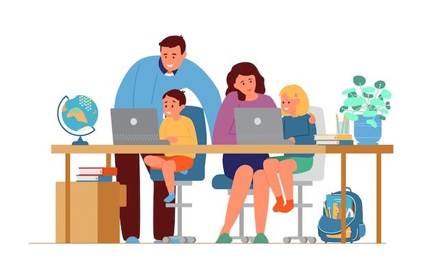 Eltern machen hausaufgaben mit kindern