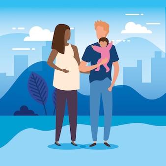 Eltern mit baby in den parknaturcharakteren
