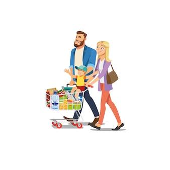 Eltern mit dem kindereinkaufen im supermarkt-vektor