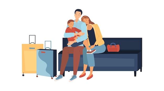Eltern mit kind schlafen im flughafen und warten auf den flug