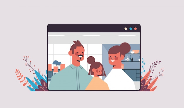 Eltern mit kind während videoanruf familienchat online-kommunikationskonzept mann frau und tochter im webbrowser fenster porträt horizontale illustration
