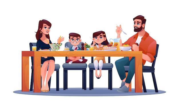 Eltern mit kindern am tisch, mutter, vater und kinder, genießen das gemeinsame abendessen vektor glückliche familie
