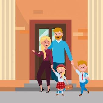 Eltern mit kindern zur schule gehen