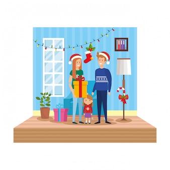 Eltern mit tochter im wohnzimmer