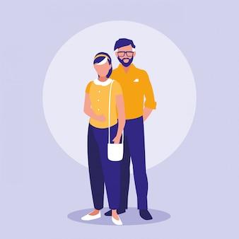 Eltern paar avatare zeichen
