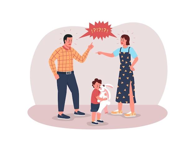 Eltern streiten sich mit ihrem kind neben ihnen
