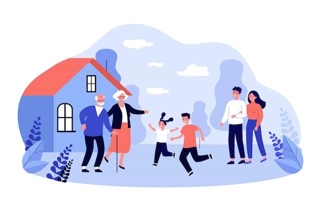 Eltern und aufgeregte kinder besuchen großeltern