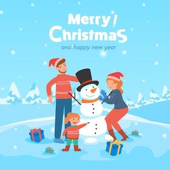 Eltern und kind im winter mit schneemann