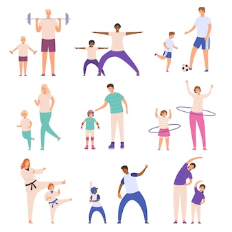 Eltern und kinder beim sport. vater und sohn spielen fußball, mutter und tochter machen fitnessübungen. vektorset für körperliche aktivität der familie. aktiver und gesunder lebensstil, freizeit