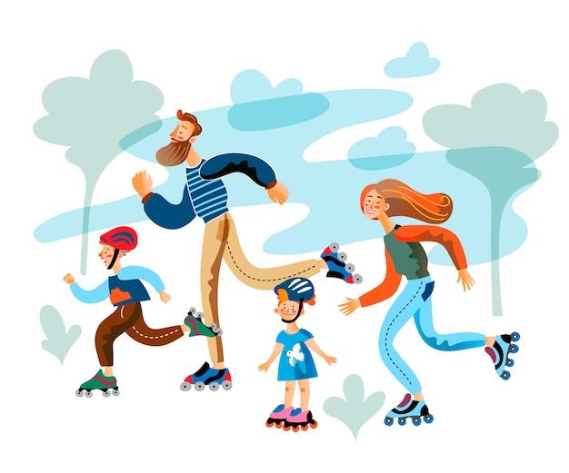 Eltern und kinder laufen auf rollschuhen im park