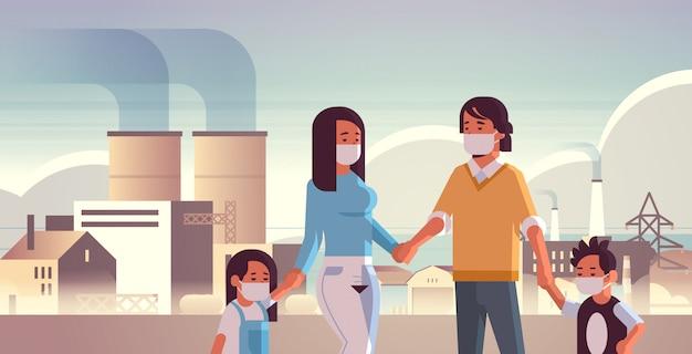 Eltern und kinder tragen gesichtsmasken