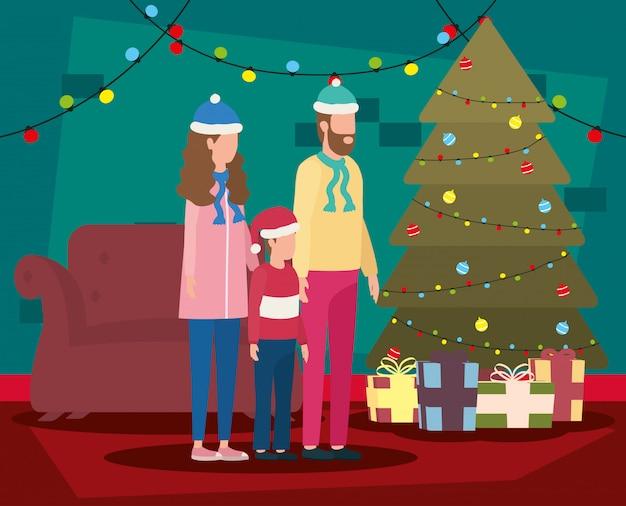 Eltern und sohn, die weihnachten im wohnzimmer mit baum feiern