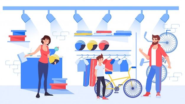 Eltern wählen fahrrad für sohn im fahrradgeschäft kaufen