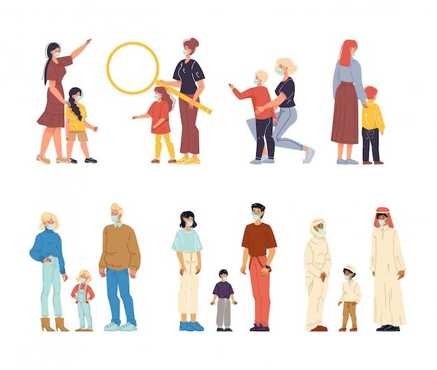 Elternkinder mit atemmasken-set