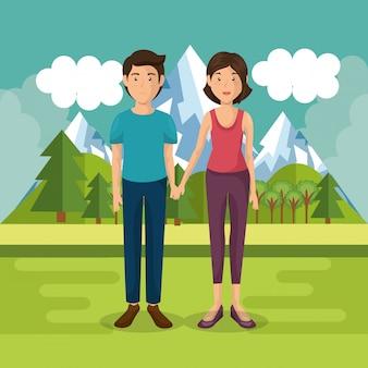 Elternpaar draußen in der landschaft