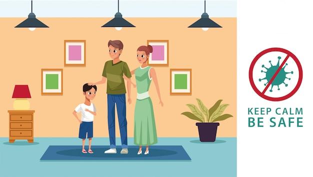 Elternpaar mit sohn bleiben zu hause kampagne