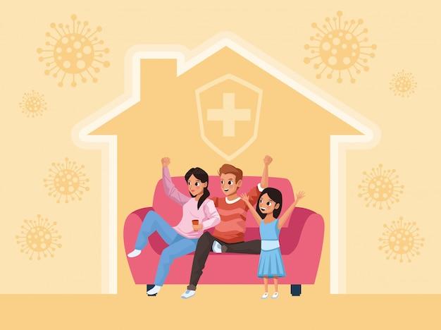 Elternpaar und tochter bleiben zu hause familienkampagne