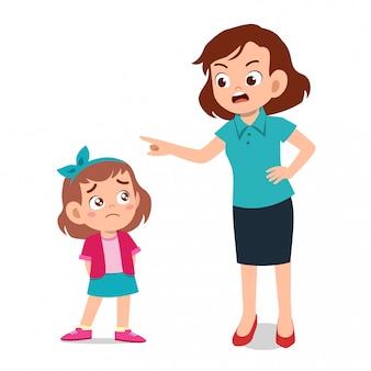 Elternteil mit kinderkinderschrei