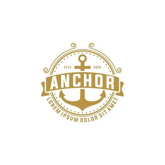 Emblem anchor sailing logo design