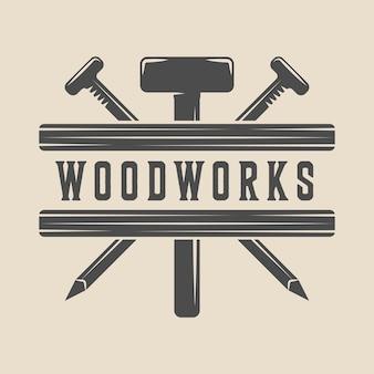 Emblem aus holz für holzarbeiten